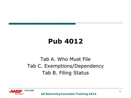 1 AZ Returning Counselor Training 2013 Pub 4012 Tab A. Who Must File Tab C. Exemptions/Dependency Tab B. Filing Status.