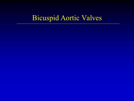 Bicuspid Aortic Valves. Bicuspid Aortic Valve u u Occurs in 1-2% of population u u Associated with : aortic coarctation patent ductus arteriosis abnormal.