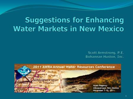 1. Presentation Premise: Current water management processes under stress Efficient water market could help alleviate stress Local insights to water markets.