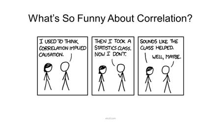 What's So Funny About Correlation? xkcd.com. What is Correlation? When two things go together: cookies & milk macaroni & cheese peanut butter & jelly.