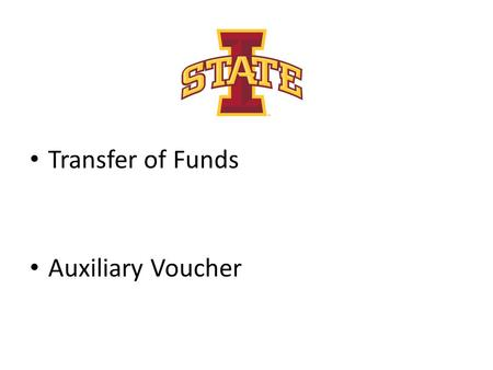 Transfer of Funds Auxiliary Voucher.