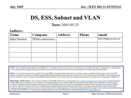 Doc.: IEEE 802.11-05/0522r0 Submission July 2005 Mike Moreton, STMicroelectronicsSlide 1 DS, ESS, Subnet and VLAN Notice: This document has been prepared.