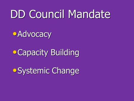 DD Council Mandate Advocacy Advocacy Capacity Building Capacity Building Systemic Change Systemic Change.