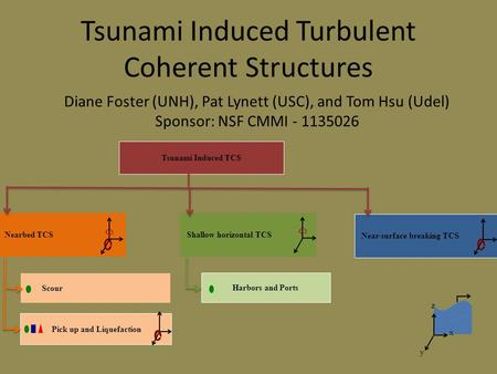 Tsunami Induced Turbulent Coherent Structures Tsunami Induced TCS Nearbed TCS Shallow horizontal TCS Near-surface breaking TCS Harbors and Ports Pick up.