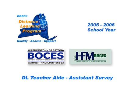 HFM SAN Distance Learning Project DL Aide - Assistant Survey 2005 – 2006 School Year... BOCES Distance Learning Program Quality Access Support.