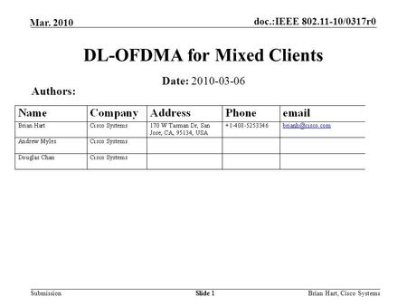 Doc.:IEEE 802.11-10/0317r0 Submission Mar. 2010 Brian Hart, Cisco SystemsSlide 1 DL-OFDMA for Mixed Clients Authors: Date: 2010-03-06.