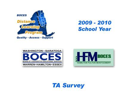 HFM SAN Distance Learning Project DL Aide - Assistant Survey 2009 – 2010 School Year... BOCES Distance Learning Program Quality Access Support.