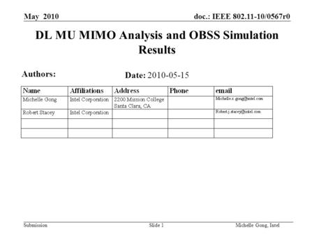 Doc.: IEEE 802.11-10/0567r0 Submission Slide 1Michelle Gong, Intel May 2010 DL MU MIMO Analysis and OBSS Simulation Results Date: 2010-05-15 Authors: