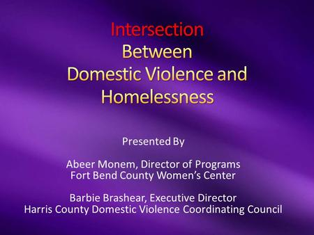 Presented By Abeer Monem, Director of Programs Fort Bend County Women's Center Barbie Brashear, Executive Director Harris County Domestic Violence Coordinating.
