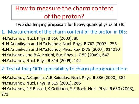 How to measure the charm content of the proton? Two challenging proposals for heavy quark physics at EIC 2. Test of the pQCD applicability to charm photoproduction: