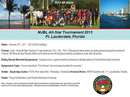 MJBL All-Star Tournament 2013 Ft. Lauderdale, Florida Dates: January 18 th – 21 st, 2013 (MLK Holiday) Format: East / West All Star Teams in 3 age divisions.