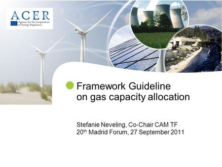 Framework Guideline on gas capacity allocation Stefanie Neveling, Co-Chair CAM TF 20 th Madrid Forum, 27 September 2011.
