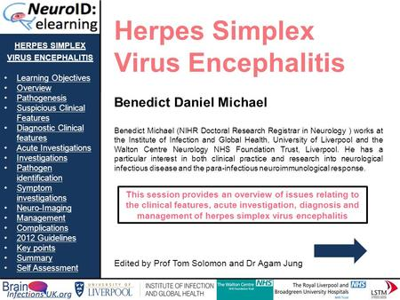 HERPES SIMPLEX VIRUS ENCEPHALITIS Learning Objectives Overview Pathogenesis Suspicious Clinical FeaturesSuspicious Clinical Features Diagnostic Clinical.