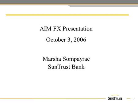 1 AIM FX Presentation October 3, 2006 Marsha Sompayrac SunTrust Bank.