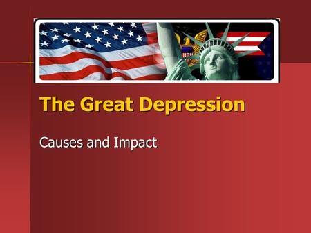 The Great Depression Causes and Impact. What is a depression? A period of severe reduced economic activity A period of severe reduced economic activity.
