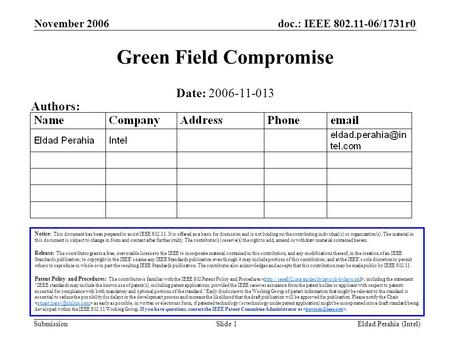 Doc.: IEEE 802.11-06/1731r0 Submission November 2006 Eldad Perahia (Intel)Slide 1 Green Field Compromise Notice: This document has been prepared to assist.