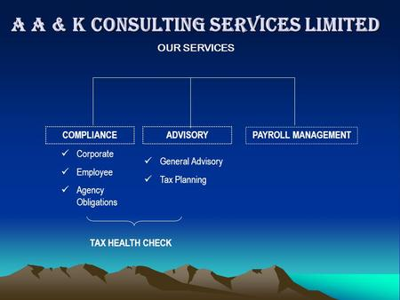 A A & K CONSULTING SERVICES LIMITED COMPLIANCEADVISORY PAYROLL MANAGEMENT Corporate Employee Agency Obligations General Advisory Tax Planning OUR SERVICES.