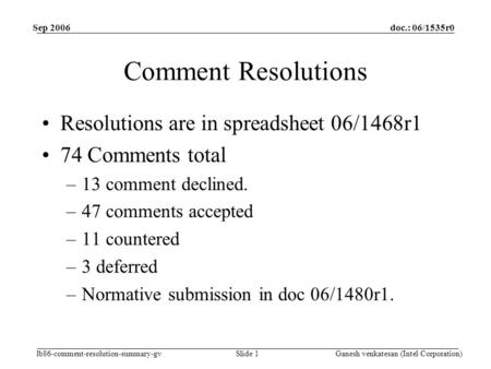 Doc.: 06/1535r0 lb86-comment-resolution-summary-gv Sep 2006 Ganesh venkatesan (Intel Corporation)Slide 1 Comment Resolutions Resolutions are in spreadsheet.