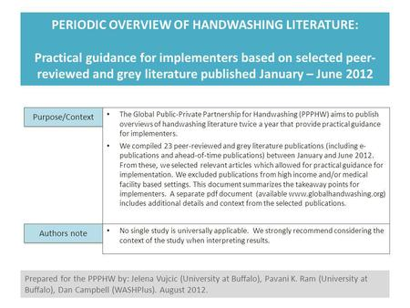 PERIODIC OVERVIEW OF HANDWASHING LITERATURE: Practical guidance for implementers based on selected peer- reviewed and grey literature published January.