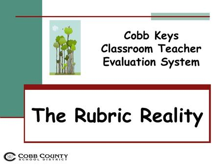 The Rubric Reality Cobb Keys Classroom Teacher Evaluation System.
