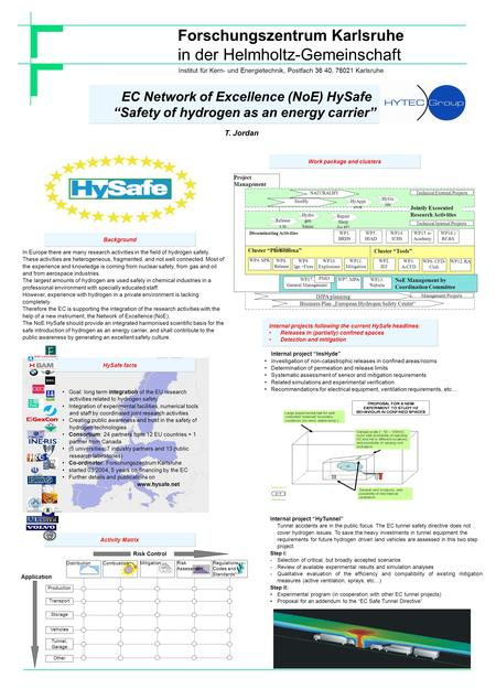"Forschungszentrum Karlsruhe in der Helmholtz-Gemeinschaft T. Jordan EC Network of Excellence (NoE) HySafe ""Safety of hydrogen as an energy carrier"" Background."
