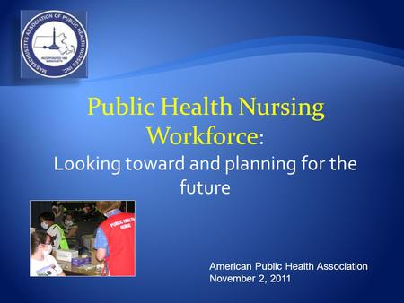 American Public Health Association November 2, 2011 Public Health Nursing Workforce : Looking toward and planning for the future.