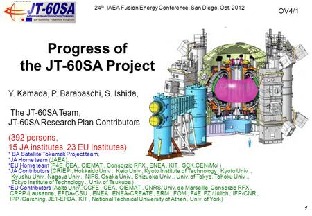 Progress of the JT-60SA Project 24 th IAEA Fusion Energy Conference, San Diego, Oct. 2012 Y. Kamada, P. Barabaschi, S. Ishida, The JT-60SA Team, JT-60SA.