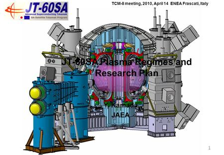 Y. Kamada JAEA TCM-8 meeting, 2010, April 14 ENEA Frascati, Italy 1 JT-60SA Plasma Regimes and Research Plan.