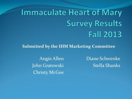 Angie Allen John Gratowski Christy McGee Diane Schwenke Stella Shanks Submitted by the IHM Marketing Committee.