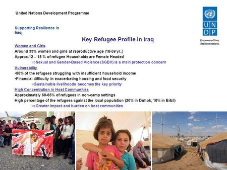 Supporting Resilience inIraq Key Refugee Profile in Iraq Women and Girls Around 33% women and girls at reproductive age (18-59 yr..) Approx.12 – 15 % of.