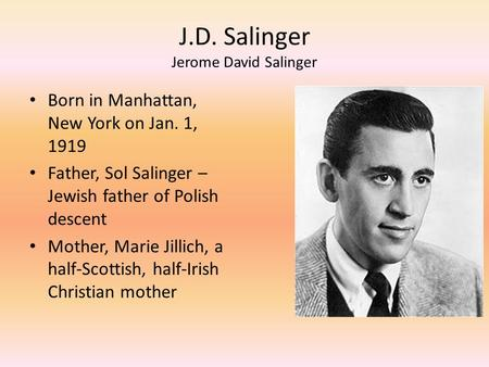 "an analysis of the novel catcher in the rye by jerome david salinger The catcher in the rye by j d salinger ebook epub jerome david salinger dropped out of signature novel, 1951's ""the catcher in the rye,"" an."