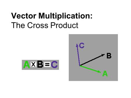 "Vector Multiplication: The Cross Product. When two vectors are ""multiplied"" to form a 3 rd vector, the new vector is called the cross product of the original."