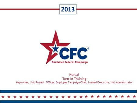2013 Norcal Turn-In Training Keyworker, Unit Project Officer, Employee Campaign Chair, Loaned Executive, Hub Administrator.