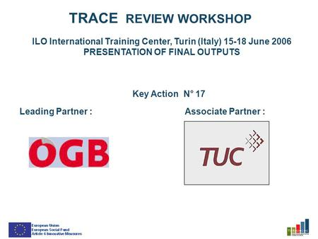 TRACE REVIEW WORKSHOP ILO International Training Center, Turin (Italy) 15-18 June 2006 PRESENTATION OF FINAL OUTPUTS Key Action N° 17 Leading Partner :Associate.