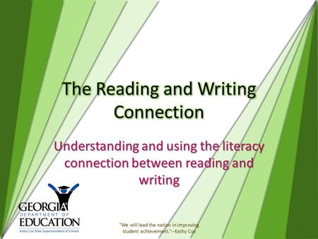 Understanding and using the literacy connection between reading and writing 1 We will lead the nation in improving student achievement.--Kathy Cox.