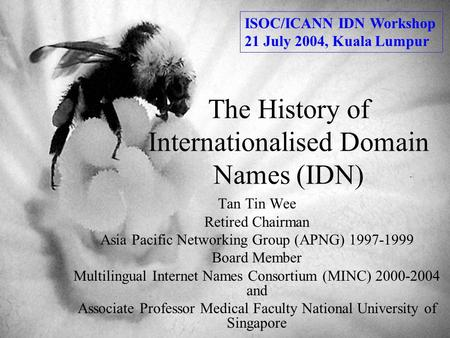 The History of Internationalised Domain Names (IDN) Tan Tin Wee Retired Chairman Asia Pacific Networking Group (APNG) 1997-1999 Board Member Multilingual.