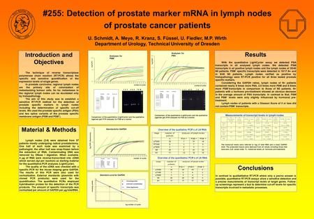 #255: Detection of prostate marker mRNA in lymph nodes of prostate cancer patients U. Schmidt, A. Meye, R. Kranz, S. Füssel, U. Fiedler, M.P. Wirth Department.