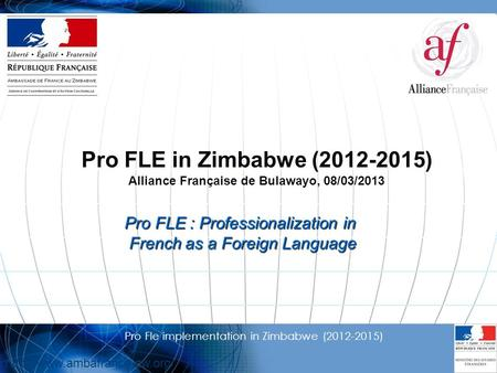 1 Pro Fle implementation in Zimbabwe (2012-2015)  Pro FLE in Zimbabwe (2012-2015) Alliance Française de Bulawayo, 08/03/2013.