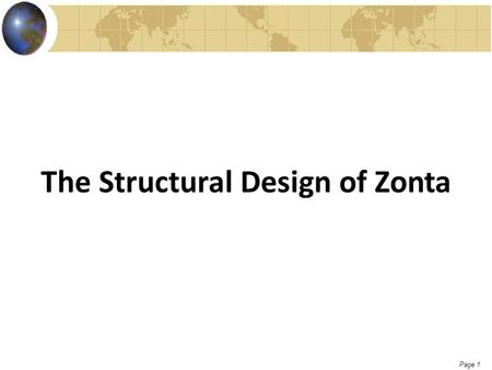 Page 1 The Structural Design of Zonta. Page 2 Zonta was named for: A.The maiden name of the founder's mother B.5 Scrabble letters were drawn from a bag.