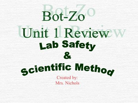 Created by: Mrs. Nichols $100 VocabularyLab SafetyProcedures Scientific Method Lab Rubric $200 $300 $400 $500 $100 $200 $300 $400 $500 $100 $200 $300.