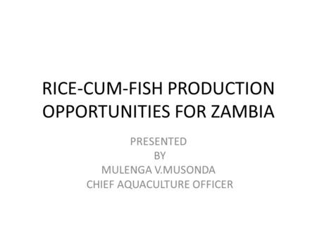 RICE-CUM-FISH PRODUCTION OPPORTUNITIES FOR ZAMBIA PRESENTED BY MULENGA V.MUSONDA CHIEF AQUACULTURE OFFICER.