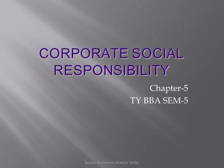 Business Environment/DIPESH PATEL Chapter-5 TY BBA SEM-5.