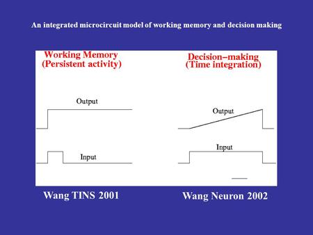 Wang TINS 2001 Wang Neuron 2002 An integrated microcircuit model of working memory and decision making.
