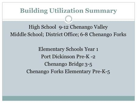 Building Utilization Summary High School 9-12 Chenango Valley Middle School; District Office; 6-8 Chenango Forks Elementary Schools Year 1 Port Dickinson.