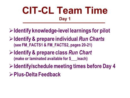CIT-CL Team Time Day 1  Identify knowledge-level learnings for pilot  Identify & prepare individual Run Charts (see FM_FACTS1 & FM_FACTS2, pages 20-21)
