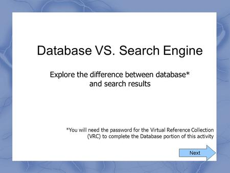 Database VS. Search Engine
