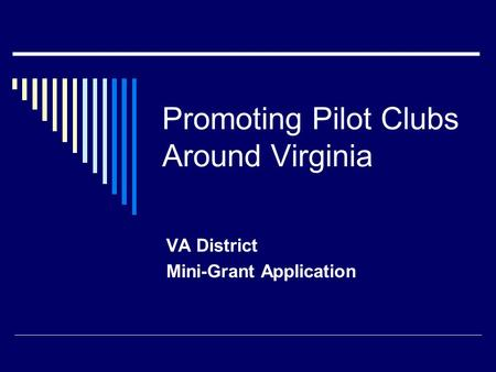 Promoting Pilot Clubs Around Virginia VA District Mini-Grant Application.