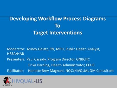 Developing Workflow Process Diagrams To Target Interventions Moderator: Mindy Golatt, RN, MPH, Public Health Analyst, HRSA/HAB Presenters: Paul Cassidy,