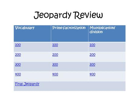 Jeopardy Review VocabularyPrime factorizationMultiplication/ division 100 200 300 400 Final Jeopardy.