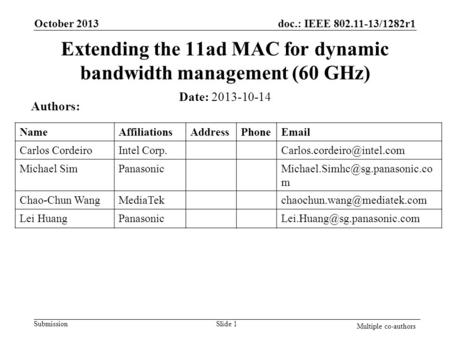 Doc.: IEEE 802.11-13/1282r1 Submission Extending the 11ad MAC for dynamic bandwidth management (60 GHz) October 2013 Slide 1 Multiple co-authors Date: